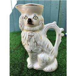 Mid 19thc English Staffordshire Spaniel Dog Porcelain Pitcher