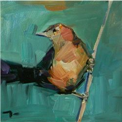 Signed Trujillo Impressionist Oil Painting, Bird's Song, Little Bird on Branch