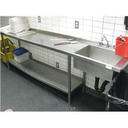8FT STAINLESS STEEL COUNTER WITH SINK