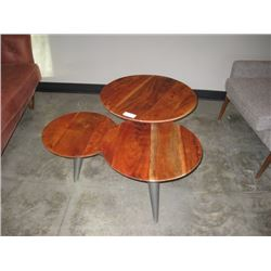 THREE WOOD CIRCLE COFFEE TABLE