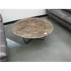 39 INCH STONE TOPPED COFFEE TABLE