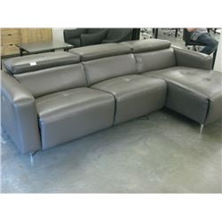GREY L-SHAPED VINYL COUCH