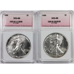 1988 AND 1989 AMERICAN SILVER EAGLES