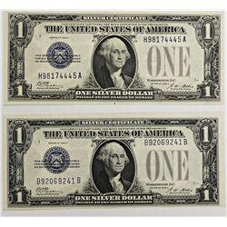 2 PCS.  1928-A $1.00 SILVER CERTIFCATES