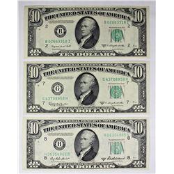 THREE PCS. $10.00 FEDERAL RESERVE NOTES