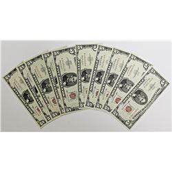 10 PCS. 1963 $5.00 UNITED STATES NOTES
