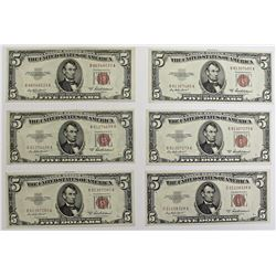 6 PCS. 1953-A $5.00 UNITED STATES NOTES