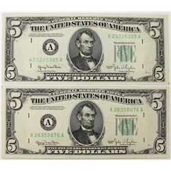 TWO 1950 $5.00 BOSTON FEDERAL RESERVE NOTES