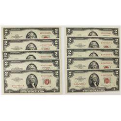 10 PCS. 1953-B $2.00 LEGAL TENDERS