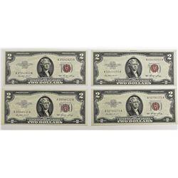 4 PCS. 1953 $2.00 NOTES
