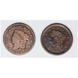 1824 AND 1852 U.S LARGE CENTS