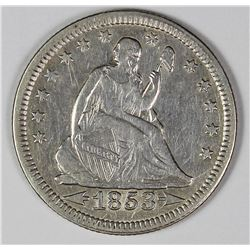 1853 ARROWS AND RAYS SEATED QUARTER