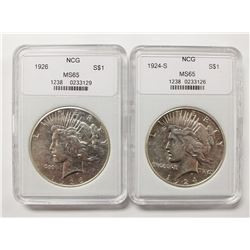 1924-S AND 1926 PEACE DOLLARS