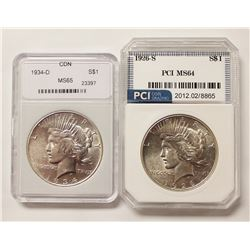 1926-S AND 1934-D PEACE DOLLARS