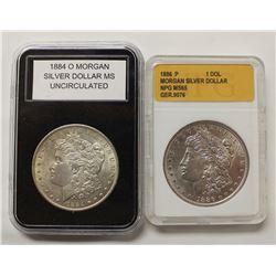 1886 AND 1884-O MORGAN SILVER DOLLARS