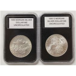 1885-O AND 1886 MORGAN SILVER DOLLARS