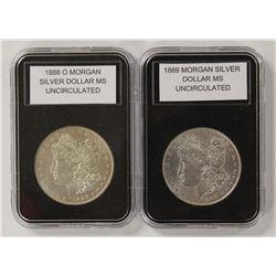 1888-O AND 1889 MORGAN SILVER DOLLARS