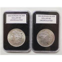 1898 AND 1900 MORGAN SILVER DOLLARS
