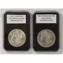 1901-O AND 1902 MORGAN SILVER DOLLARS