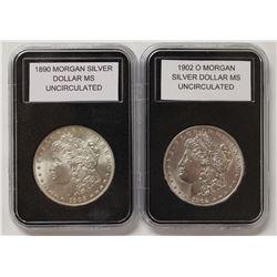 1902-O AND 1900 MORGAN SILVER DOLLARS