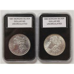 1891 AND 1896 MORGAN SILVER DOLLARS