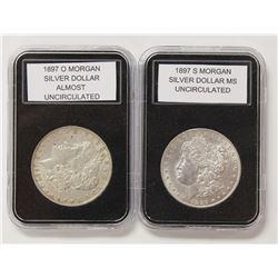 1897-O AND 1897-S MORGAN SILVER DOLLARS