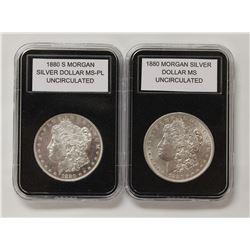 1880 AND 1880-S MORGAN SILVER DOLLARS