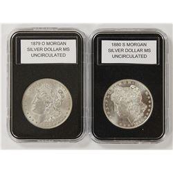 1879-O AND 1880-S MORGAN SILVER DOLLARS