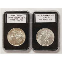 1881-S AND 1881 MORGAN SILVER DOLLARS