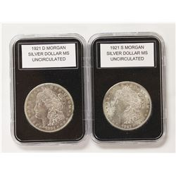 1921-S AND 1921-D MORGAN SILVER DOLLARS