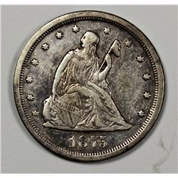 1875-S TWENTY CENT PIECE XF-AU