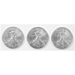 THREE 2019 AMERICAN SILVER EAGLES