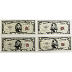 4 PCS. 1953 $5.00 UNITED STATES NOTES