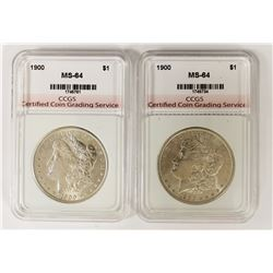(2) 1900 MORGAN SILVER DOLLARS