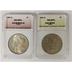 (2) GEM BU PL MORGAN SILVER DOLLARS