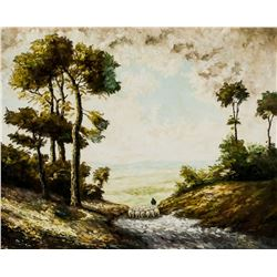 19/20th C. Oil on Canvas Pastoral Scene Unsigned