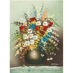 E Green European Oil on Canvas Still Life Flowers
