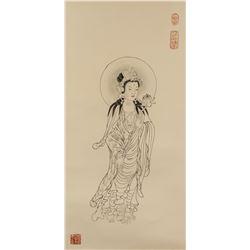 Zhang Daqian 1899-1983 Chinese Ink Guanyin Roll