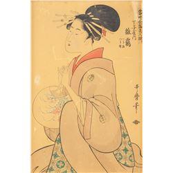 Utamaro 1753-1806 Japanese Woodblock Print Beauty