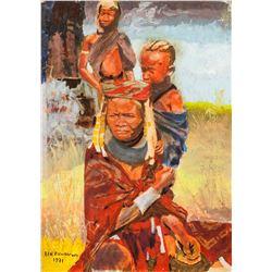 """Ben Enwonwu Nigerian Modernist Oil/Canvas """"1971"""""""