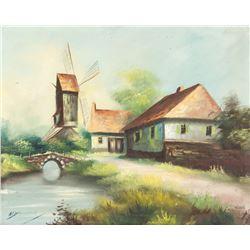 Signed Illegibly Oil on Canvas Landscape Hamlet