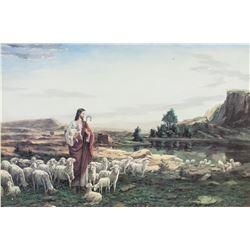 Print on Paper Shepherd Jesus and Lambs