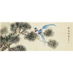 Shujuan 20th. C Chinese Watercolor Birds Scroll