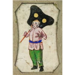 Chinese Qing Dynasty Boy with Fan Painting Framed