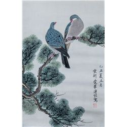 Puzuo 1918-2001 Chinese Watercolor Birds Scroll