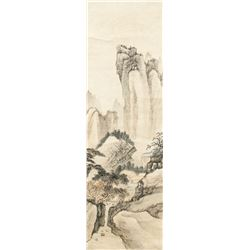 Chinese Watercolor Landscape Scroll