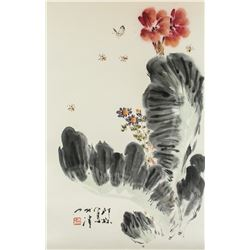 Xiao Lang 1917-2010 Chinese Watercolor Flower Roll