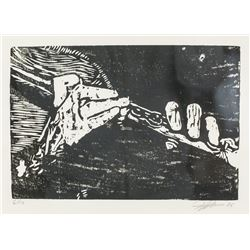Woodcut Block Print Signed & Dated '86 6/10