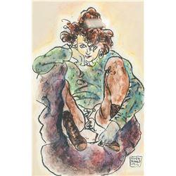 Egon Schiele Austrian Mixed Media on Paper
