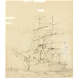 E. C. Sears European Pencil Drawing on Paper